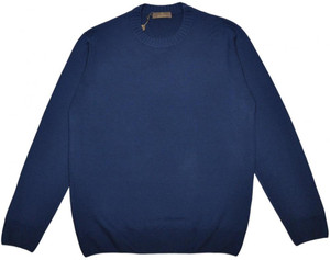 Cruciani Sweater Crewneck Wool 54 XLarge Blue 42SW0109