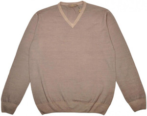 Cruciani Sweater V-Neck Wool 54 XLarge Brown 42SW0105