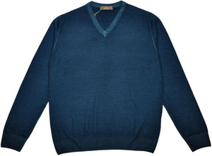 Cruciani Sweater V-Neck Wool 54 XLarge Green 42SW0103
