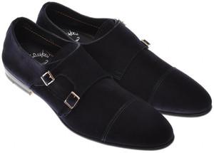 Santoni Shoes Fatte A Mano Monk Strap Suede 13 US 12 UK Blue 40SO0106