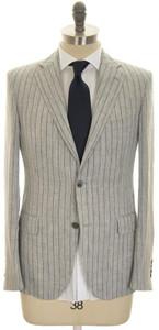 Belvest Suit 2B Linen 38 48 Gray Black Stripe 50SU0167