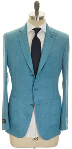 Belvest Suit 3B Linen 42 52 Light Teal Blue 50SU0170