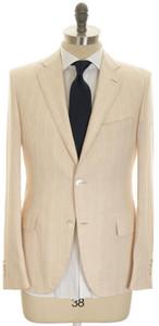 Belvest Suit 2B Linen 38 48 Light Brown Stripe 50SU0168