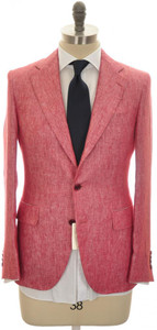 Belvest Suit 3B Linen 38 48 Red 50SU0174