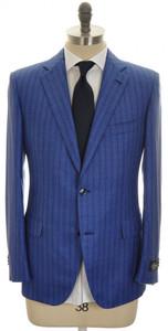 Belvest Suit 2B Wool Silk Blend 42 52 Blue Stripe 50SU0184
