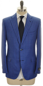 Belvest Suit 2B Wool Silk Blend 40 50 Blue Stripe 50SU0183