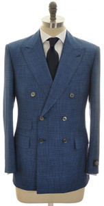Belvest 3-Piece Suit DB Wool Silk 40 50 Blue Micro Check 50SU0136