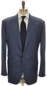 Belvest Suit 3B Wool 160's 48 58 Blue Herringbone 50SU0189
