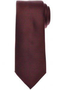 Brioni Tie Silk Orange Navy Blue Geometric 03TI0626