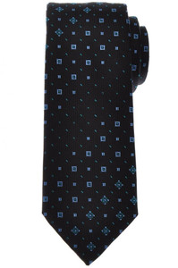 Brioni Tie Silk Black Blue Geometric 03TI0623