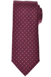 Brioni Tie Silk Red Blue Geometric 03TI0622