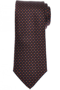 Brioni Tie Silk Navy Blue Brown Geometric 03TI0634