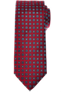 Brioni Tie Silk Red Blue Geometric 03TI0628
