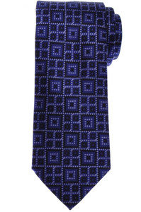 Brioni Tie Silk Blue-Purple Black Geometric 03TI0638