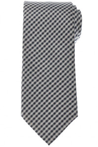 Brioni Tie Silk Gray White Check 03TI0636