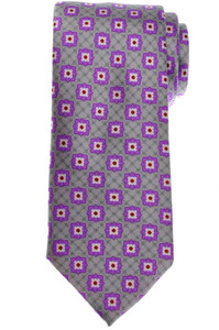 Brioni Tie Silk Purple Gray Geometric 03TI0635