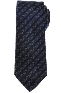 Brioni Tie Silk Blue Black Stripe 03TI0658