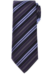 Brioni Tie Silk Navy Blue Purple Stripe 03TI0657