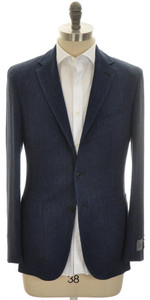 Belvest Sport Coat Jacket 3B Linen Wool 46 56 Blue Herringbone 50SC0231