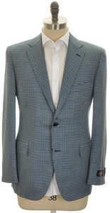 Belvest Sport Coat Jacket 2B Wool 110's Size 46 Blue Green Check 50SC0249