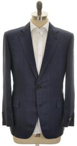 Belvest Sport Coat Jacket 2B Linen 44 S 54 C Blue Herringbone
