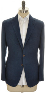 Belvest Sport Coat Jacket 3B Linen 44 54 Blue 50SC0264