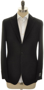 Belvest Sport Coat Jacket 3B Woven Linen Cotton 40 50 Black 50SC0269