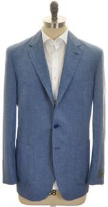 Belvest Sport Coat Jacket 3B Linen Wool 44 54 Blue Neat 50SC0281
