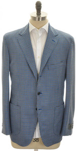 Belvest Sport Coat Jacket 3B Wool 110's 46 56 Blue Brown Check 50SC0279