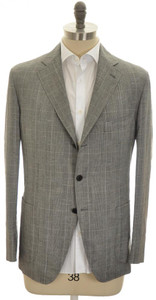 Belvest Sport Coat Jacket 3B Wool Linen 44 54 Gray Glen Plaid 50SC0277