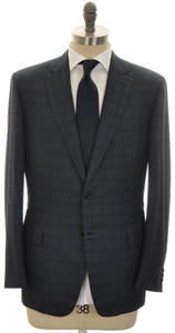 Brioni Suit 'Brunico' 2B Wool Silk 46 56 Blue Plaid 03SU0189