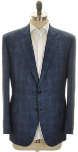 Brioni Sport Coat Jacket 'Brunico' Wool Blend 46 56 Blue Teal 03SC0118