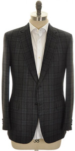 Brioni Sport Coat Jacket 'Brunico' Wool Cashmere 42 52 Gray Black 03SC0113