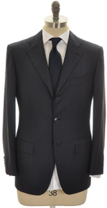 Kiton Suit 3B Wool 44 54 Blue Tick Stripe 01SU0147