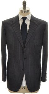 Kiton Suit 3B Diamante Blue 150's Wool 46 56 Gray W/ Blue Stripe 01SU0149