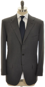 Kiton Suit 3B Diamante Blue 150's Wool 46 56 Gray Stripe 01SU0151