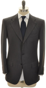 Kiton Suit 3B 14 Micron 180's Wool 38 48 Gray Stripe 01SU0153