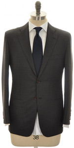 Kiton Suit 2B 14 Micron 180's Wool 38 48 Green Black Blue Check 01SU0161