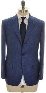 Kiton Suit 3B Cashmere Linen Silk 46 56 Blue W/ Gray Stripe 01SU0160