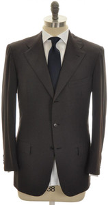 Kiton Suit 3B Diamante Blue 150's Wool 40 50 Brown-Gray Stripe 01SU0155