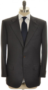 Kiton Suit 3B 14 Micron 180's Wool 42 52 Gray Stripe 01SU0169
