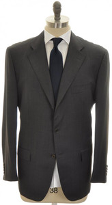 Kiton Suit 3B Wool 48 58 Brown-Gray Tick Weave 01SU0165