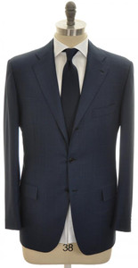 Kiton Suit 3B Wool 50 60 Blue Plaid 01SU0163
