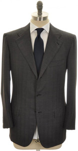Kiton Suit 3B Diamante Blue 150's Wool 42 52 Gray W/ Blue Stripe 01SU0175