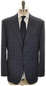 Kiton Suit 3B Wool 48 58 Blue Purple Plaid 01SU0173