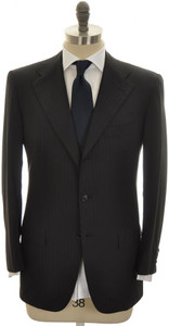 Kiton Suit 3B 14 Micron 180's Wool 38 48 Black W/ Blue Stripe 01SU0172