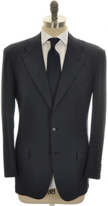 Kiton Suit 3B Wool 42 52 Blue Solid 01SU0171