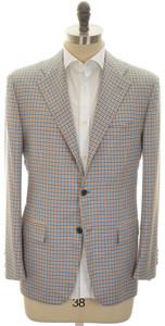 Kiton Sport Coat Jacket 3B Cashmere 38 48 Blue Orange Check 01SC0164