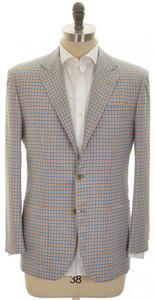 Kiton Sport Coat Jacket 3B Cashmere 40 50 Blue Orange Check 01SC0161