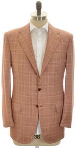 Kiton Sport Coat Jacket 3B Cashmere 42 52 Red Plaid 01SC0170